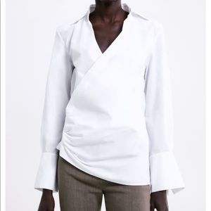 Asymmetrical faux wrap with a collar cotton shirt